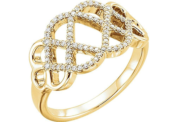 Diamond Woven Ring, 14k Yellow Gold (1/5 Ctw, Color G-H, Clarity I1 ), Size 5