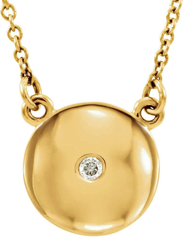 "Diamond Solitaire Round Medallion 14k Yellow Gold Pendant Necklace, 16.5"" (.02 Cttw)"