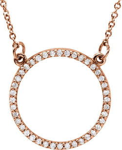 "Petite Diamond Circle Pendant 14k Rose Gold Necklace, 16"" (1/5 Cttw)"