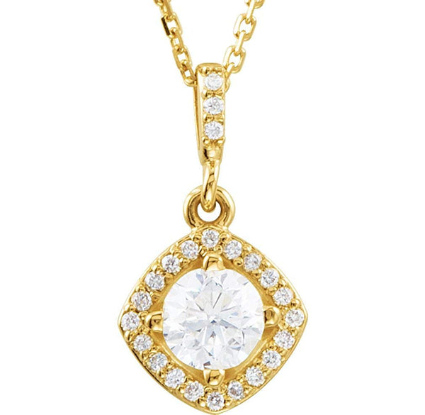 "Diamond Halo Pendant Necklace in 14k Yellow Gold, 18"" (5/8 Cttw)"