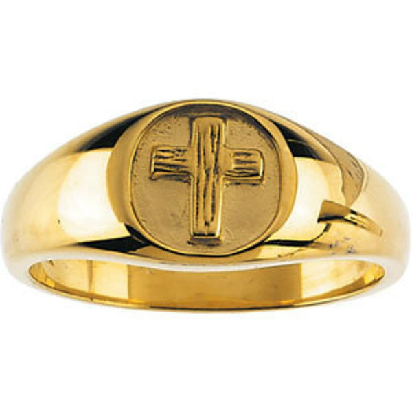 The Rugged Cross Chastity Ring, 10k Yellow Gold, Size 11