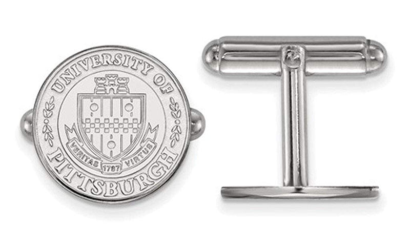Rhodium-Plated Sterling Silver University Of Pittsburgh Crest Cuff Links, 15MM