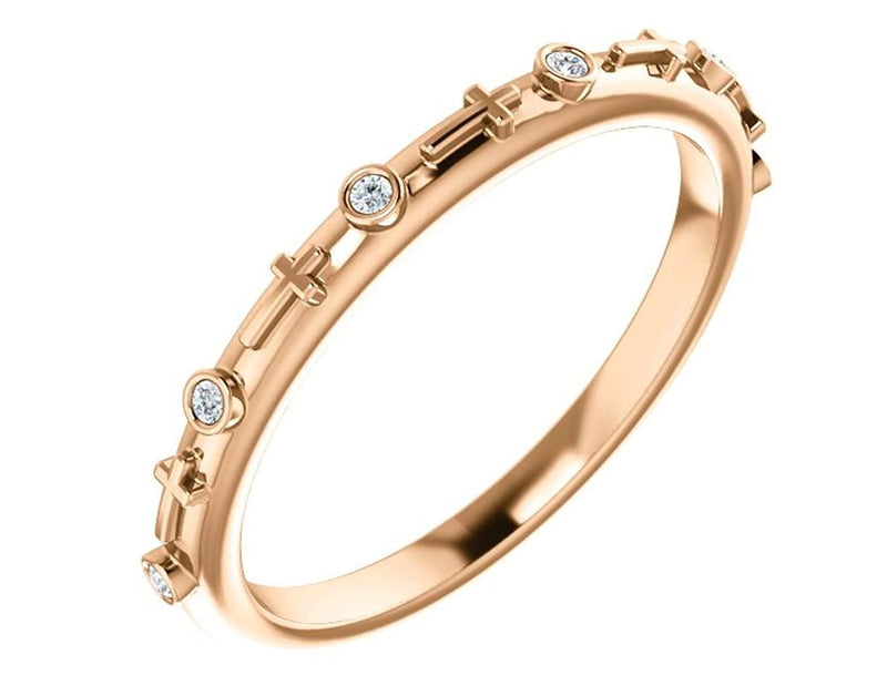 Petite Diamond Cross Ring, 14k Rose Gold (.03 CTW, Color G-H, Clarity I1)