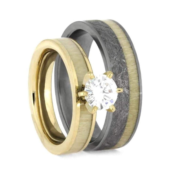 Moissanite, Meteorite, Aspen Wood, 10k Yellow Gold Comfort-Fit Matte Titanium Couples Wedding Band Set