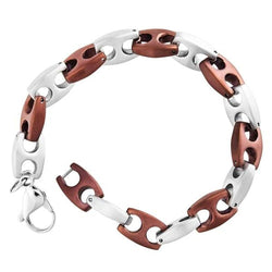 Men's Two-Tone Chocolate-Plated Mariner Link Bracelet, Stainless Steel, 8.5""
