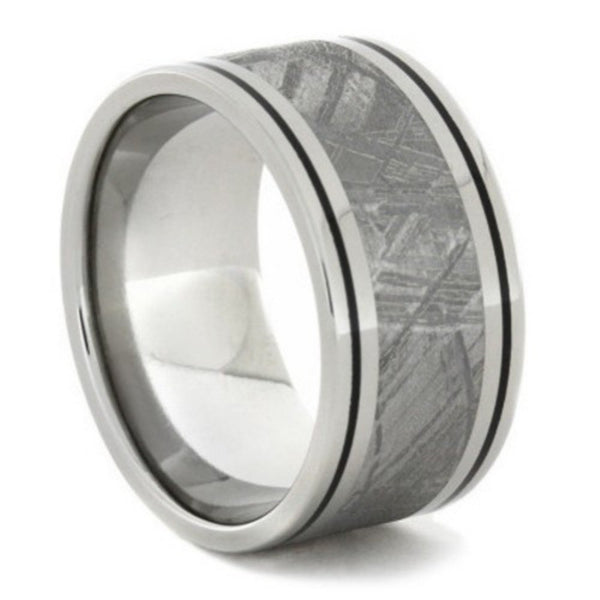 Gibeon Meteorite, Black Enamel Pinstripes 11mm Comfort-Fit Titanium Wedding Band, Size 9.5