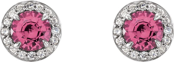 Pink Tourmaline and Diamond Halo-Style Earrings, Rhodium-Plated 14k White Gold (5 MM) (.16 Ctw, G-H Color, I1 Clarity)