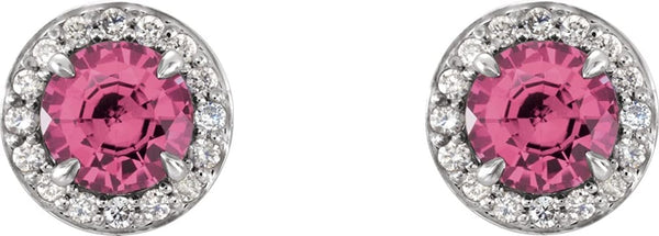 Pink Tourmaline and Diamond Halo-Style Earrings, 14k White Gold (3.5 MM) (.125 Ctw, G-H Color, I1 Clarity)