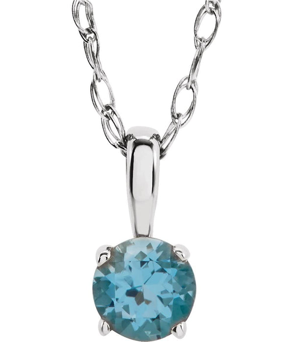 Children's Imitation Blue Zircon 'December' Birthstone Sterling Silver Pendant Necklace, 14""
