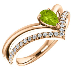 Peridot Pear and Diamond Chevron 14k Rose Gold Ring (.145 Ctw,G-H Color, I1 Clarity)