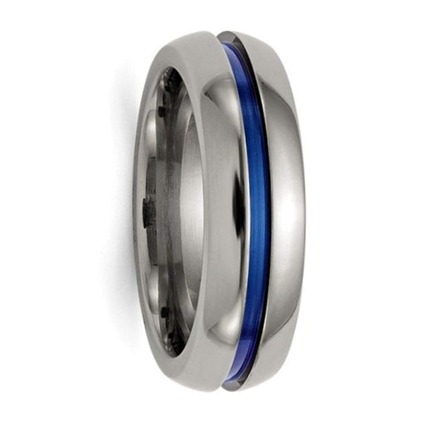 Edward Mirell Titanium Blue-Anodized Center 7mm Comfort-Fit Band