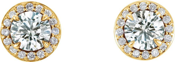 White Sapphire and Diamond Halo-Style Earrings, 14k Yellow Gold (4.5MM) (.16 Ctw, G-H Color, I1 Clarity)
