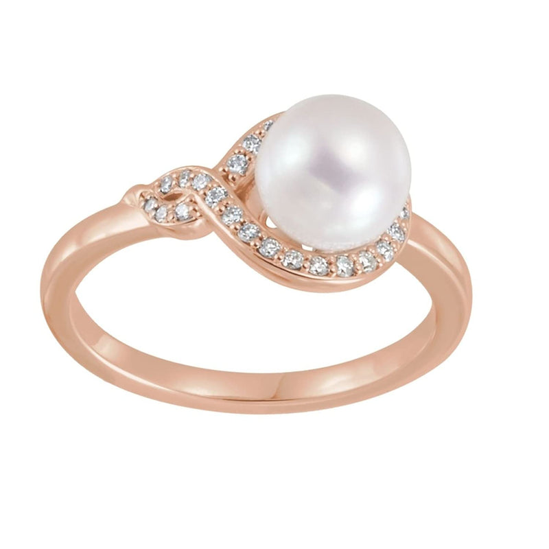 White Freshwater Cultured Pearl, Diamond Bypass Ring, 14k Rose Gold (7-7.5mm)(.125Ctw, GH Color, I1 Clarity)