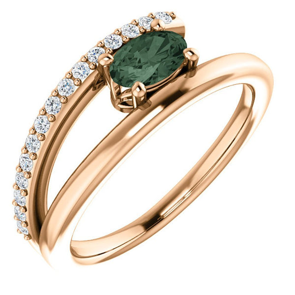 Chatham Created Alexandrite and Diamond Bypass Ring, 14k Rose Gold (.125 Ctw, G-H Color, I1 Clarity)