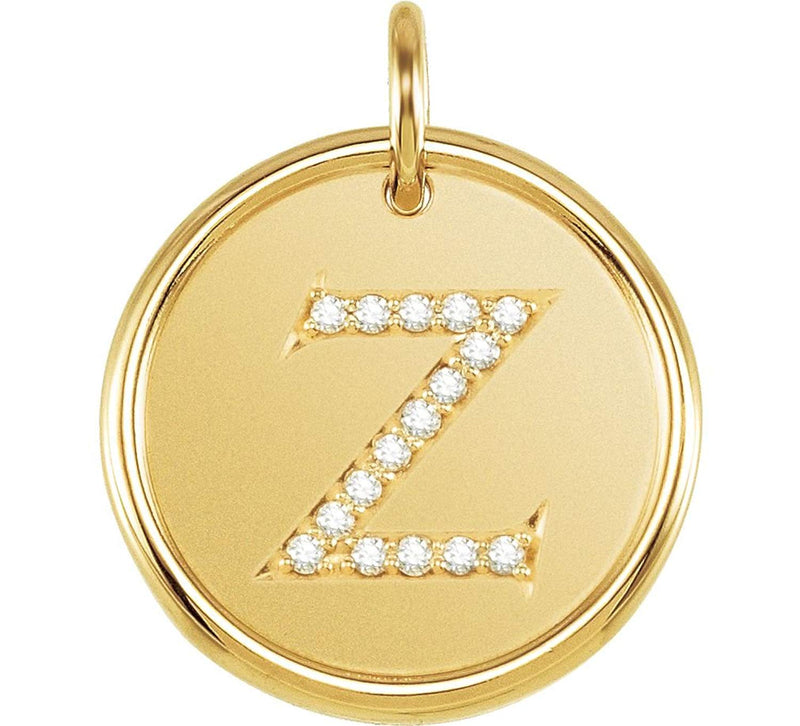 "Diamond Initial ""Z"" Pendant, 14k Yellow Gold (.08 Ctw, Color GH, Clarity I1)"