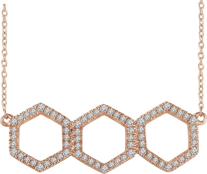 "Diamond Geometric Necklace, 14k Rose Gold, 16-18"" (0.25 Ctw, H+ Color, I1 Clarity)"