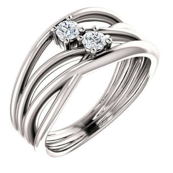 Diamond Two-Stone Bypass Ring, Rhodium-Plated 14k White Gold, Size 7 (.2 Ctw, G-H Color, I1 Clarity)