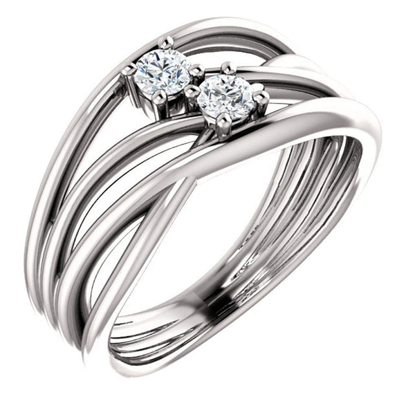 Diamond Two-Stone Bypass Ring, Sterling Silver, Size 7 (.2 Ctw, G-H Color, I1 Clarity)