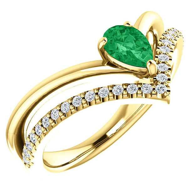 Chatham Created Emerald Pear and Diamond Chevron 14k Yellow Gold Ring (.145 Ctw, G-H Color, I1 Clarity), Size 8