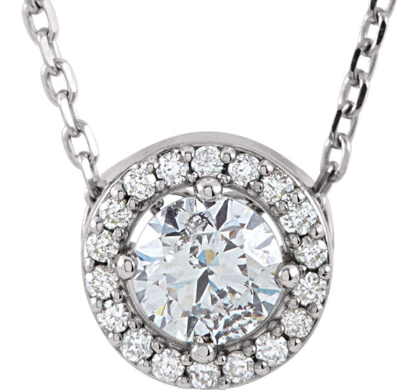 "19-Stone Diamond Halo 14k White Gold Pendant Necklace, 16"" (.33 Cttw)"