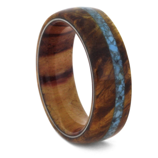 Turquoise, Amboyna Burl and Tulip Wood 7mm Comfort-Fit Matte Titanium Band