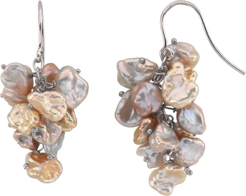 Sterling Silver Freshwater Keshi Cultured Pearl Earrings