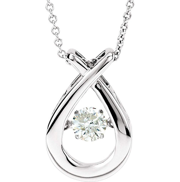 "Mystara Diamond Teardrop Pendant 14k White Gold Necklace, 18"" (3/8 Cttw)"