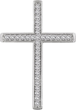 Diamond Chapel Cross Rhodium-Plated 14k White Gold Pendant (.5 Ctw, H+ Color, I1 Clarity)