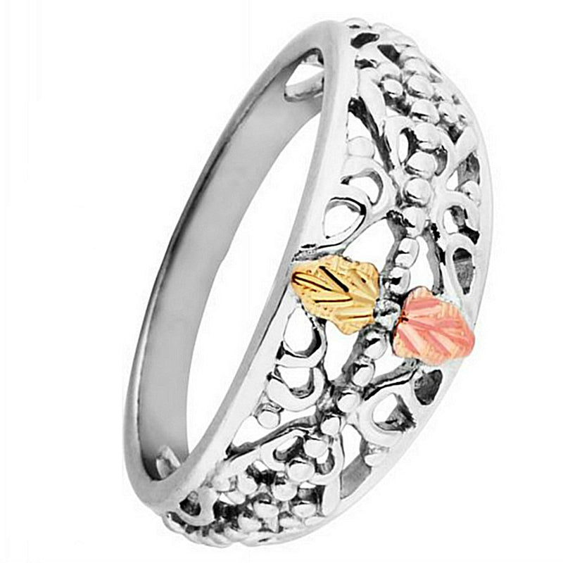 Cut-Out Granulated Black Hills Gold Motif Rhodium Plate Sterling Silver Band, Size 9