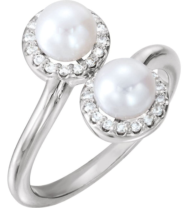 White Freshwater Cultured Pearl and Diamond Halo Ring, Rhodium-Plated 14k White Gold (5.50-6.00MM) (.16 Ctw, G-H Color, I1 Clarity)