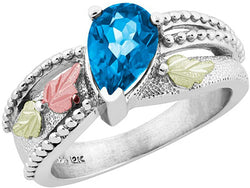 Pear Swiss Blue Topaz Granulated Bead Ring, Sterling Silver, 12k Green and Rose Gold Black Hills Gold Motif, Size 8