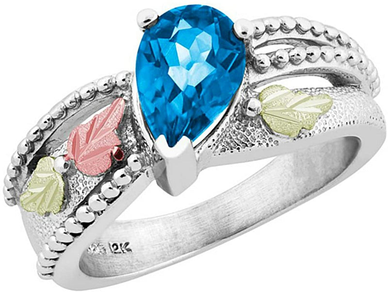 Pear Swiss Blue Topaz Granulated Bead Ring, Sterling Silver, 12k Green and Rose Gold Black Hills Gold Motif, Size 6.25