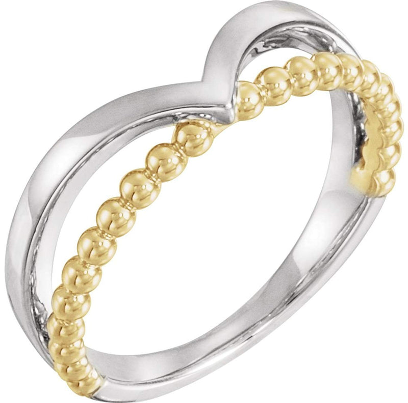 Negative Space Beaded 'V' Ring, Rhodium-Plated 14k White and Yellow Gold