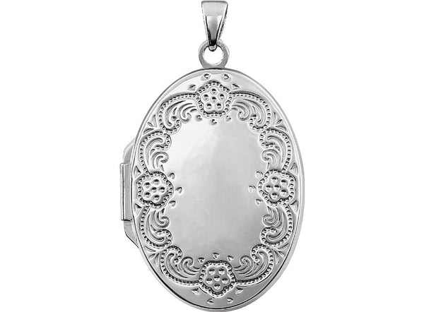 Sterling Silver Oval Floral Border Locket