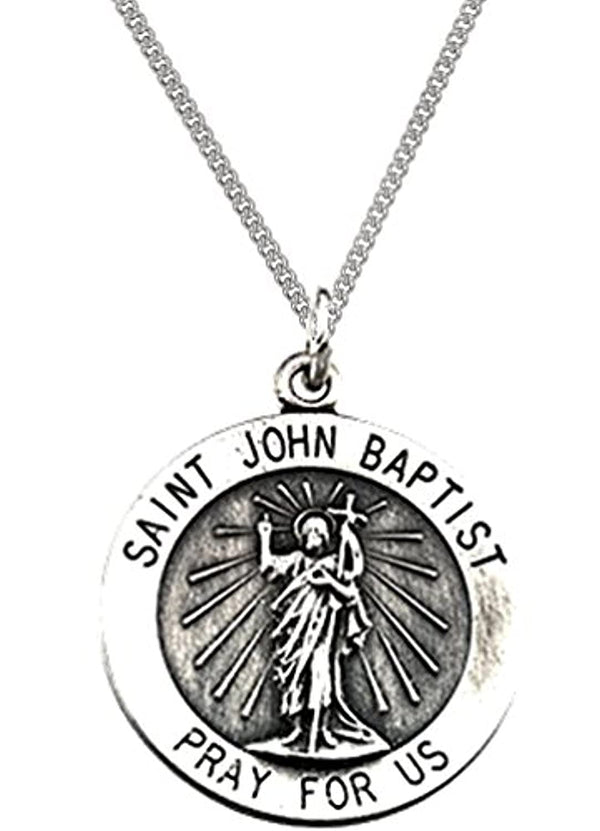 "Sterling Silver Round St. John the Baptist Necklace, 18"" (18 MM)"