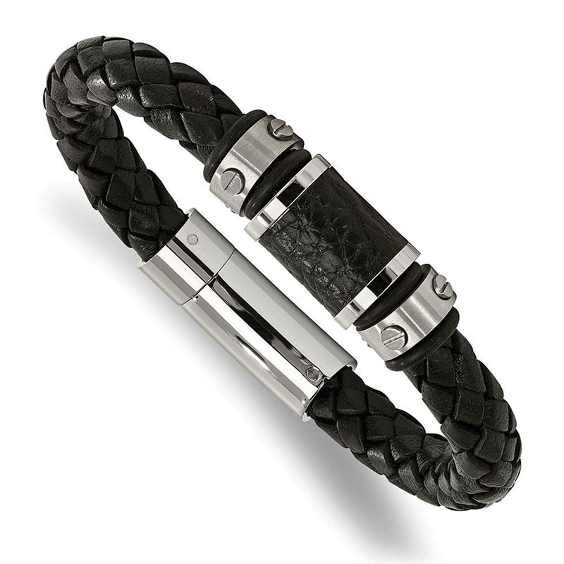 Men's Brushed Stainless Steel Black Leather and Black Rubber Bracelet, 8.5""