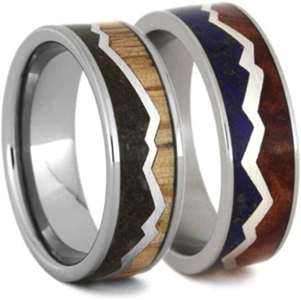 Lapis Lazuli, Redwood Titanium Band and Oak Wood, Dinosaur Bone Titanium Band, Couples Mountain Wedding Bands Sizes M11-F5.5