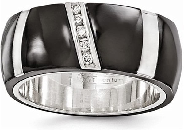 Edward Mirell Black Titanium and Sterling Silver Diamond 10mm Wedding Band (0.1 CT)
