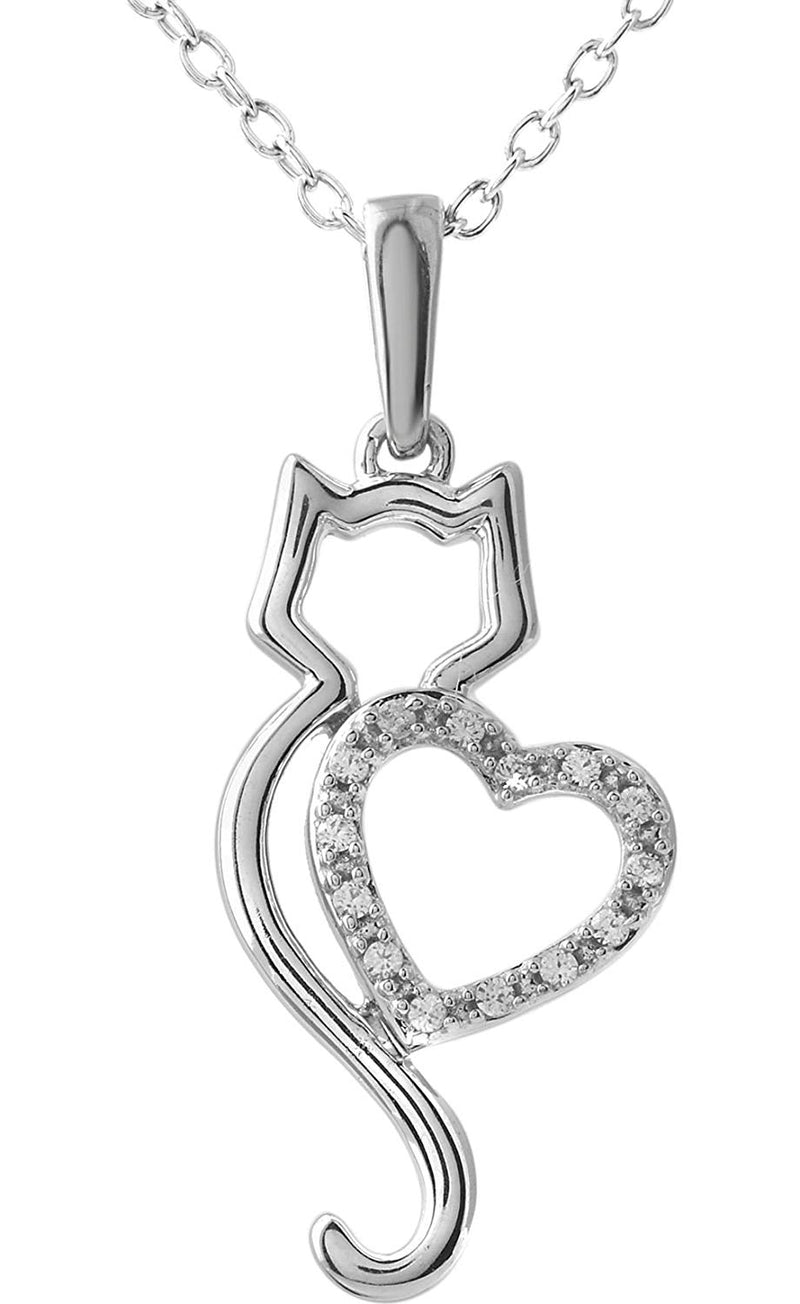 "Diamond .05 Cttw Kitty and Heart Silhouette 10k White Gold Necklace, 18"" with Charm Pet Collar Tag"