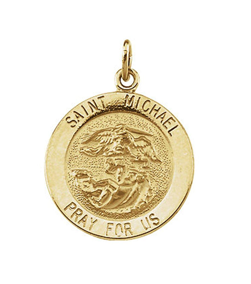 14k Yellow Gold Round St. Michael Medal (12 MM)