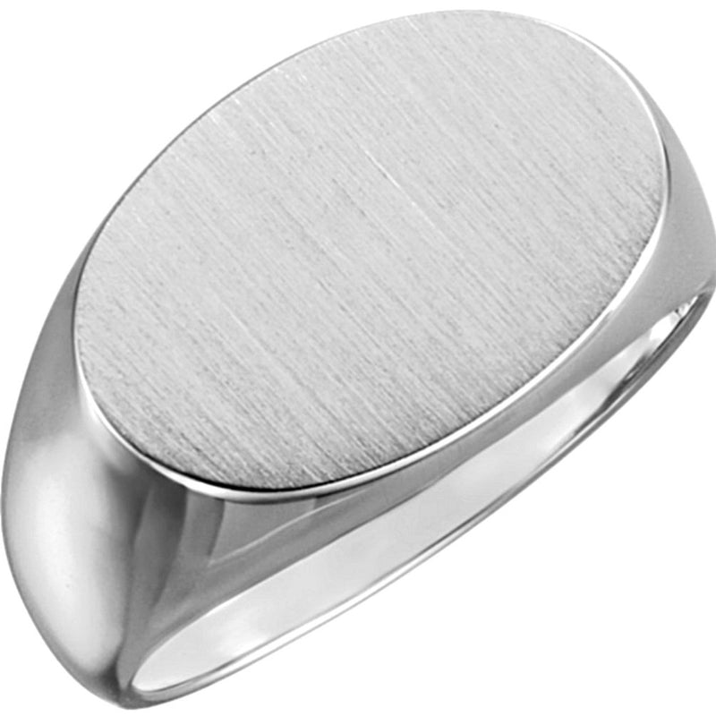 Men's Platinum Semi-Polished and Satin Brushed, Oval Signet Ring, 12x18 MM