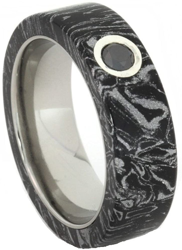 Black Diamond, Black and White Composite Mokume Gane 6mm Comfort-Fit Matte Titanium Wedding Band, Size 6.5