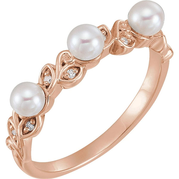 White Cultured Pearl, Diamond Stackable Leaf Ring, 14k Rose Gold (3.5mm)(.03Ctw, Color G-H, Clarity I1)