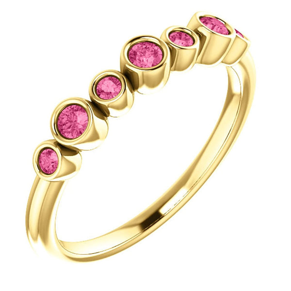 Created Chatham Ruby 7-Stone 3.25mm Ring, 14k Yellow Gold, Size 7