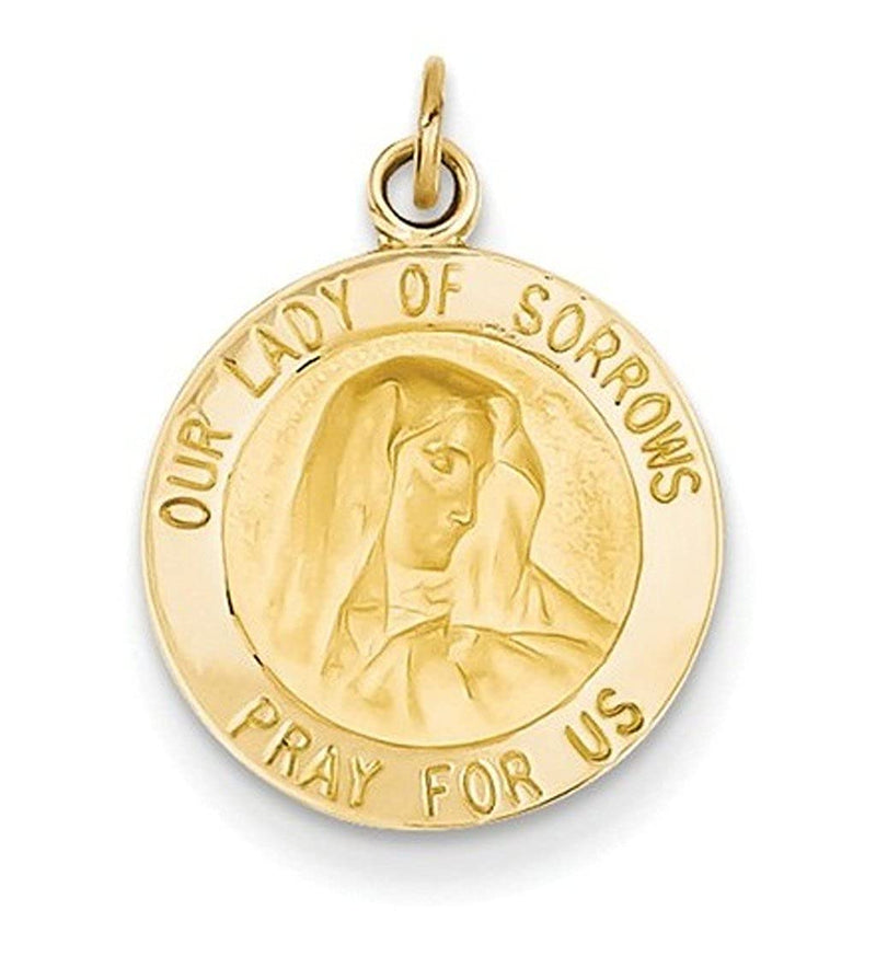 14k Yellow Gold Our Lady of Sorrows Medal Charm (20X15MM)