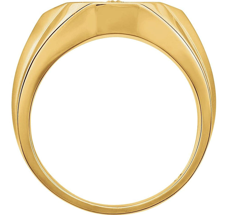 Men's Diamond Cross Rhodium Plate 14k Yellow Gold Ring, Size 10 (1/4 Cttw, HIJ Color,SI2-I1 Clarity)