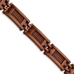 Men's Brushed Stainless Steel 11mm Brown IP-Plated Bracelet, 9""