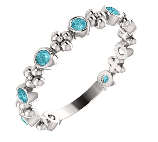 Genuine Blue Zircon Beaded Ring, Rhodium-Plated Sterling Silver