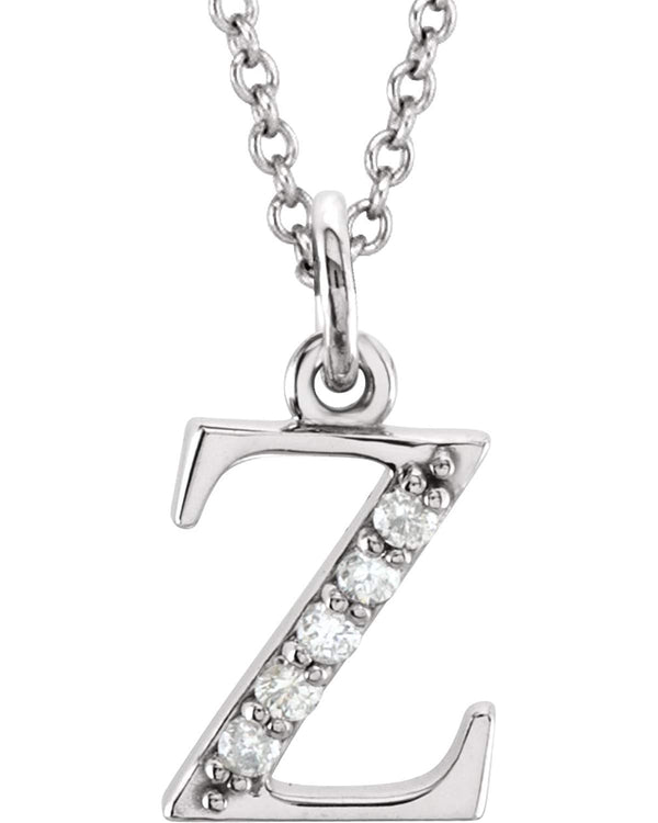 "Diamond Initial 'z' Lowercase Letter Rhodium-Plate 14k White Gold Pendant Necklace, 16"" (.03 Ctw GH, I1)"