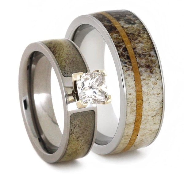 Charles & Colvard Moissanite, Deer Antler Engagement Ring and Antler, Oak Wood Band, His and Hers Wedding Set